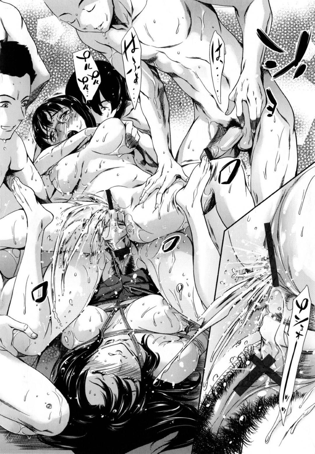 【エロ漫画】男子生徒たちと放課後に乱交セックスする清楚系JK達…見かけに反して淫乱な彼女たちは膣やアナルに次々と巨根を挿入されて感じまくる!【まぐろ帝國:津田沼VS雨宮 編】